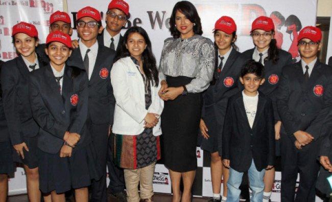 Bollywood actress Sameera Reddy at an awareness campaign in Mumbai on Thursday. PTI Photo