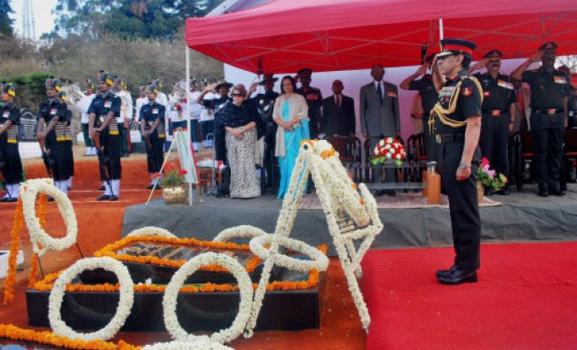 Army personnel paying tributes to Field Marshal Sam Manekshaw on his 101st birth anniversary in...