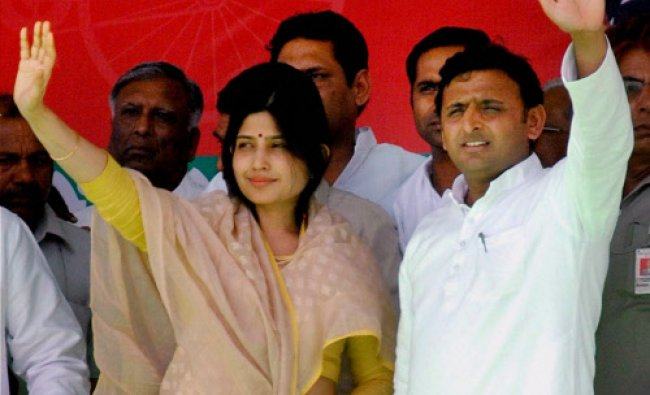 Chief Minister of Uttar Pradesh Akhilesh Yadav along with his wife and SP candidate Dimple Yadav...