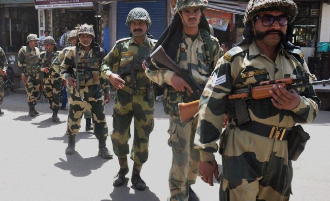 CRPF personnel during a flag march ahead of Lok Sabha elections in Moradabad, UP ...