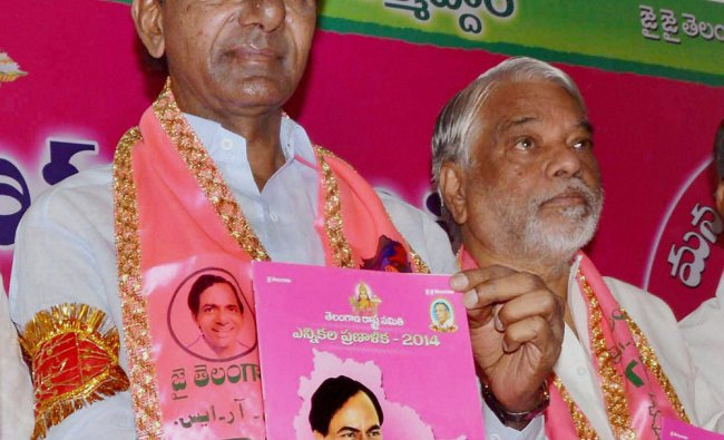 TRS President K.Chandra Sekhar Rao with party leaders releasing candidates list and manifesto ...