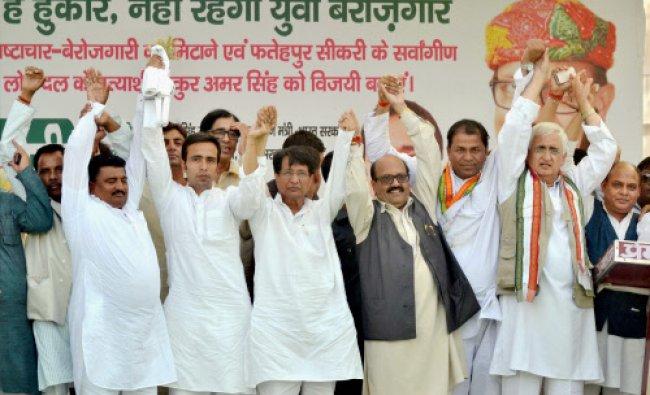 Union minister and Congress leader Salman Khurshid, Rashtriya Lok Dal chief Ajit Singh, party...