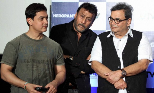 Bollywood actor Aamir Khan and Jackie Shroff and filmmaker Subhash Ghai during the trailer launch...