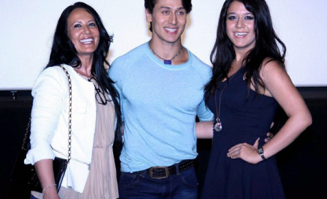 Actor Tiger Shroff, his mother Ayesha and sister Krishna Shroff during the trailer launch of film...