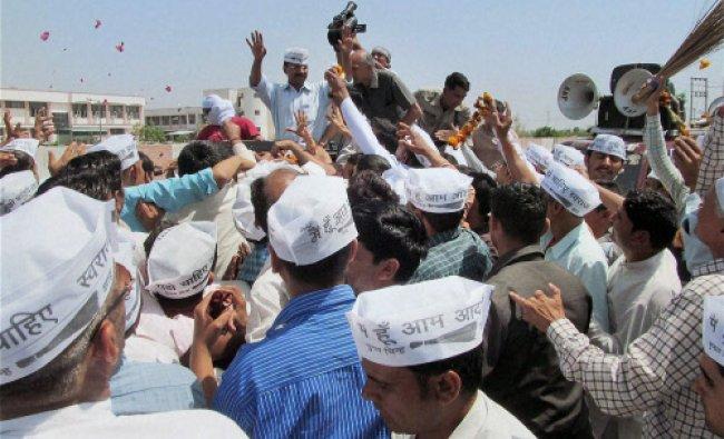 AAP convener Arvind Kejriwal during his election road show in Hisar...