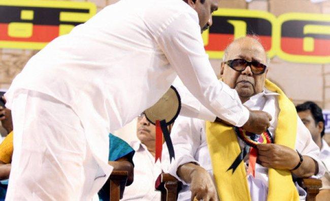 Former Chief Minister of Tamil Nadu and DMK Leader M Karunanithi with Nilgiri DMK...