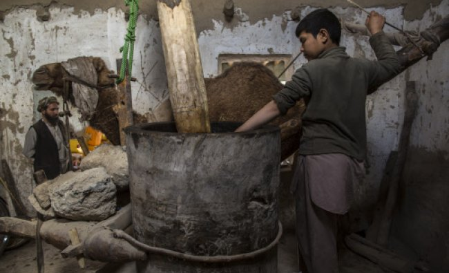 Hakimullah,12, prepares to extract oil from sesame paste at a traditional sesame oil processing...