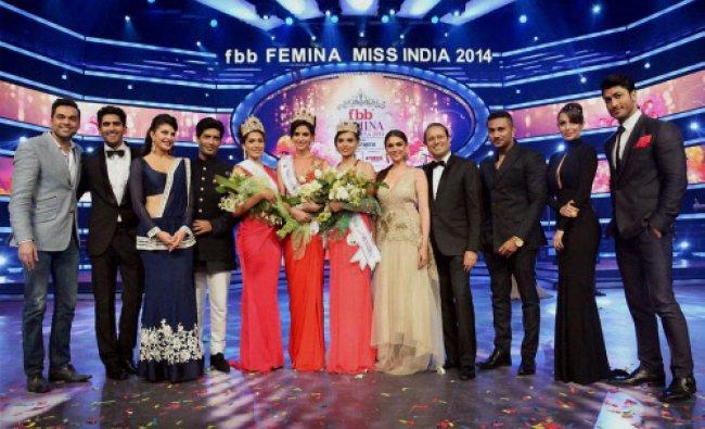 Miss India 2014 Koyal Rana (centre) and runner-ups, Jhataleka Malhotra and Gail Da\'Silva, with...