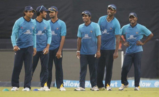 Sri Lanka players attend a training session ahead of their ICC Twenty20 final match...
