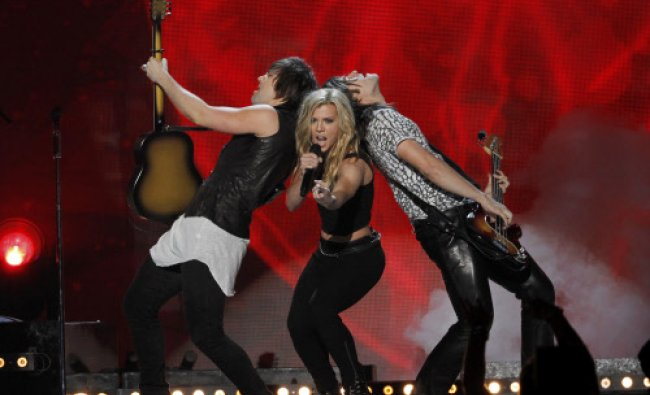 The Band Perry performs \'Chainsaw\' during the 49th Annual Academy of Country Music Awards in Las...