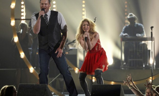 Blake Shelton and Shakira perform \'Medicine\' at the 49th Annual Academy of Country Music Awards...