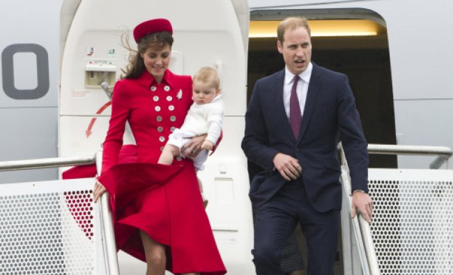 Britain\'s Prince William and Catherine, Duchess of Cambridge with Prince George arrive for their...