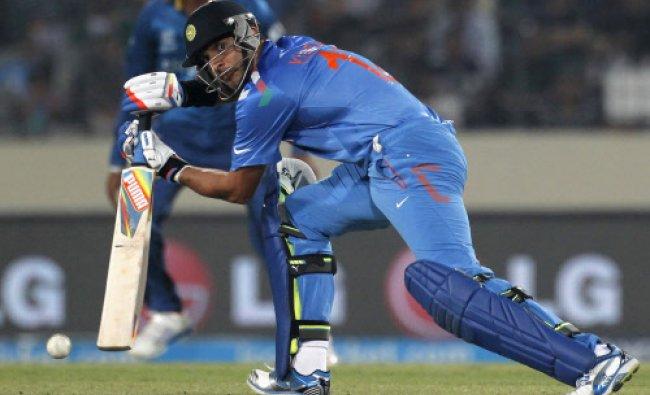 Yuvraj Singh plays a ball against Sri Lanka during their ICC Twenty20 World Cup cricket final...