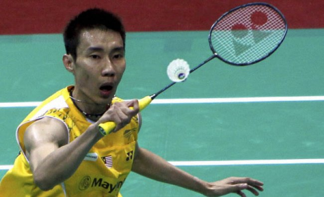 Lee Chong Wei of Malaysia playing against Chen Long of China...
