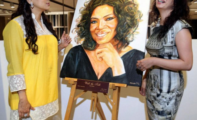 Bollywood actress Juhi Chawla and Nawaz Modi Singhania during an art exhibition...