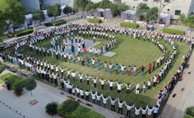 Students forming a human chain to create awareness on health on the occasion of World Health Day...
