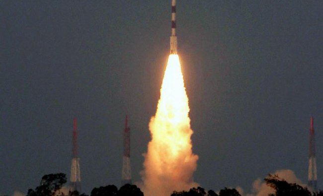 PSLV C24, carrying the country\'s navigational satellite IRNSS - 1B, takes off from Satish Dhawan...
