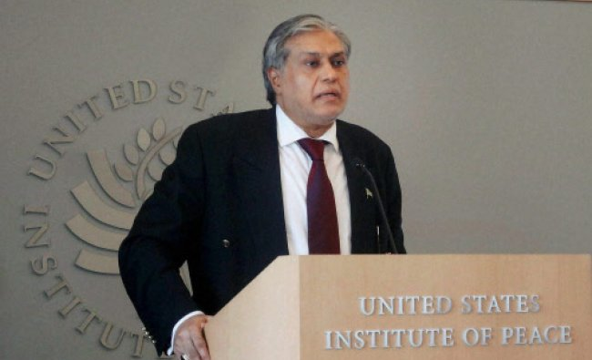 Pakistani Finance Minister, Mohd Ishaq Dar, addressing a meeting at the US Institute of Peace...