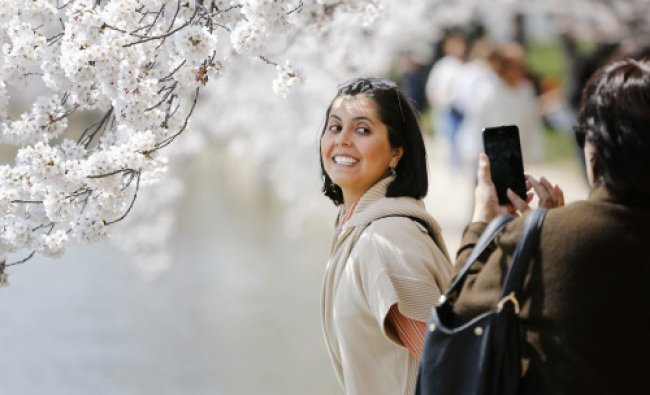 Darlene Yarrington of Fredericksburg, Virginia, has her picture taken with the famed cherry...