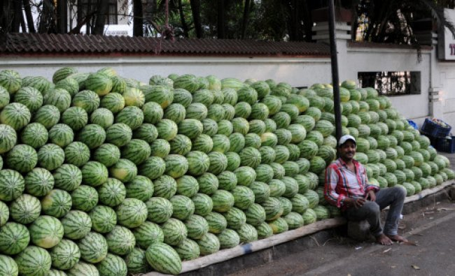 Water melon sales in city to beat the summer, at Vyalikaval, Bangalore...