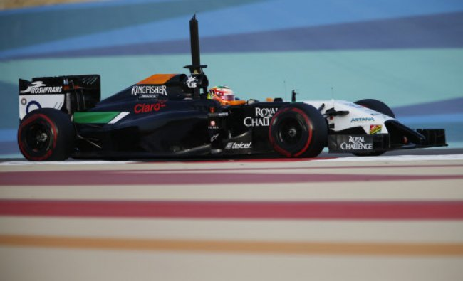 Force India Formula One driver, Sergio Perez of Mexico drives during the second in-season test...