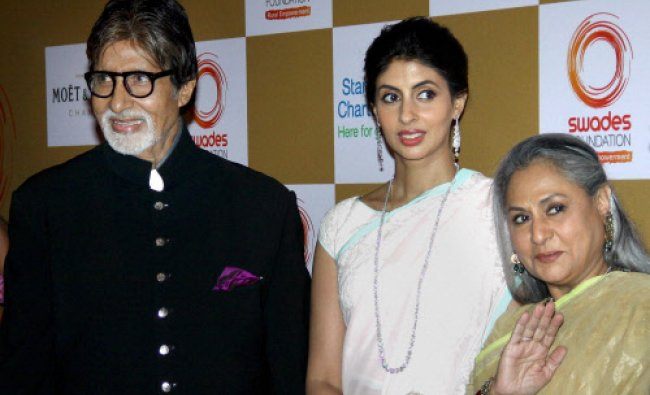 Bollywood actor Amitabh Bachchan with wife Jaya and daughter Shweta during the fundraiser in...