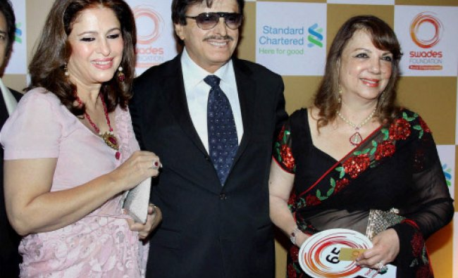 Bollywood actor Sanjay Khan with his wife Zarine Khan and sister Dilshad, during the fundraiser...