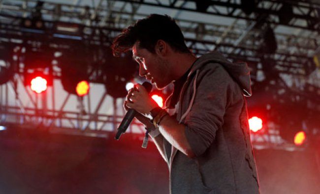 Lead vocalist Dan Smith of rock band Bastille performs at the Coachella Music Festival in Indio...