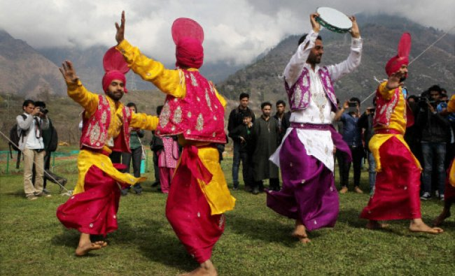 Folk dancers from Punjab perform during the first day of three day \'Spring Festival\'...