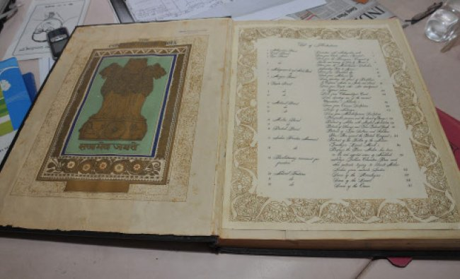 Sharadavilasa Educational Institutions president Parthasarathy showing the original copy...