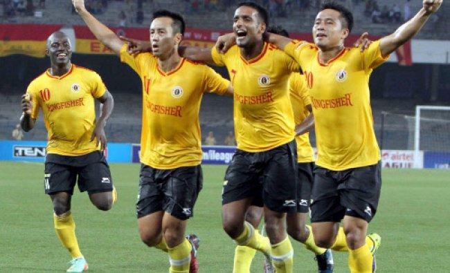 East Bengal players Ryuji Sueoka (left), Harmanjyot Khabra (centre) and Larindika Ralte...