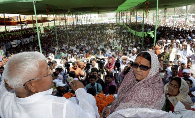 RJD chief Lalu Prasad along with his wife and party Lok Sabha candidate from Saran Rabri...