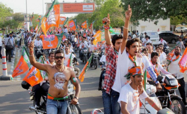 BJP workers at an election campaign rally ahead of Lok Sabha elections in Jaipur...