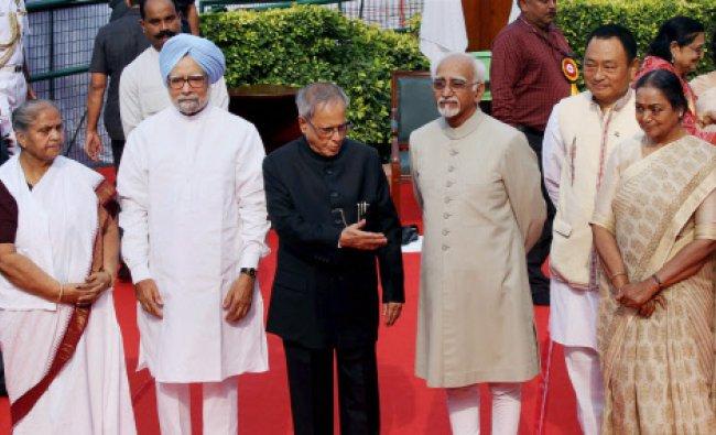 President Pranab Mukherjee, Vice President Hamid Ansari, Prime Minister Manmohan Singh, Lok Sabha...