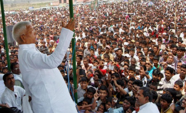 RJD chief Lalu Prasad addressing an election campaign rally in Jehanabad...