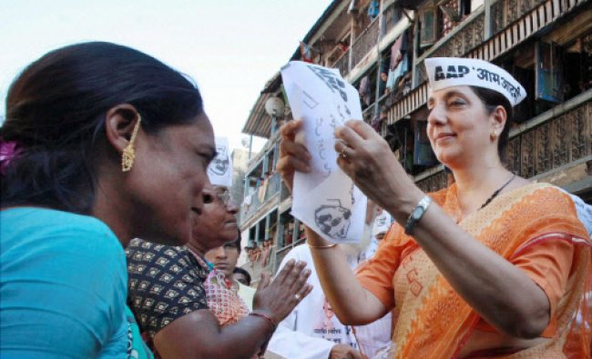 AAP candidate from South Mumbai Meera Sanyal during her election campaign at Kamathipura...