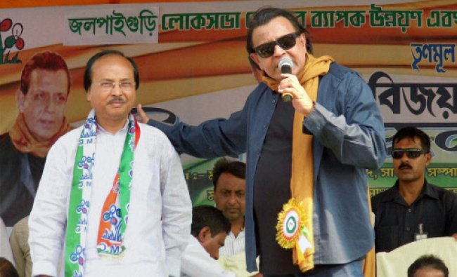 Bollywood actor and TMC campaigner Mithun Chakrabortry during an election campaign rally...