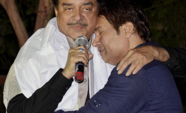BJP Lok Sabha candidate from Patna Sahib Shatrughan Sinha along with bollywood actor Shekhar...