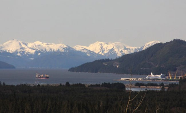 The waters of Douglas Channel are shown from the town of Kitimat, British Columbia April 12...