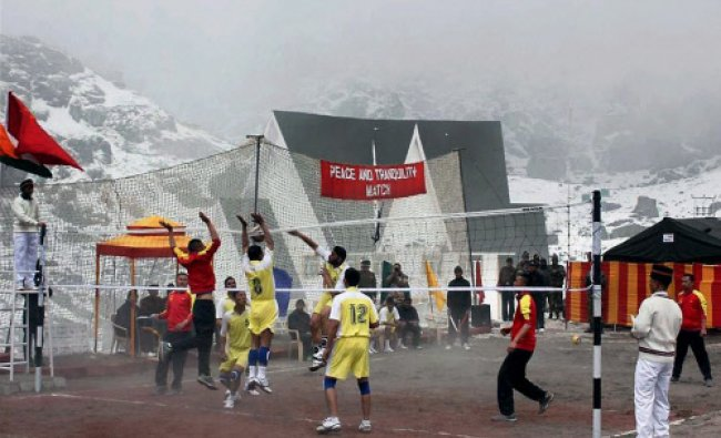 A friendly volleyball match between Indian and Chinese armies officers on the sidelines...