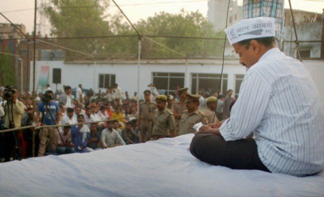 AAP convener Arvind Kejriwal at an interaction with public during his election campaign...
