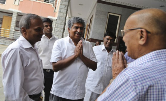 Congress party candidate and former Chairman of Unique Identification Authority of India Nandan...