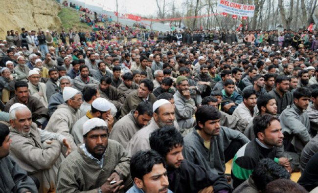National Conference and Congress supporters during an election rally of Jammu and Kashmir...