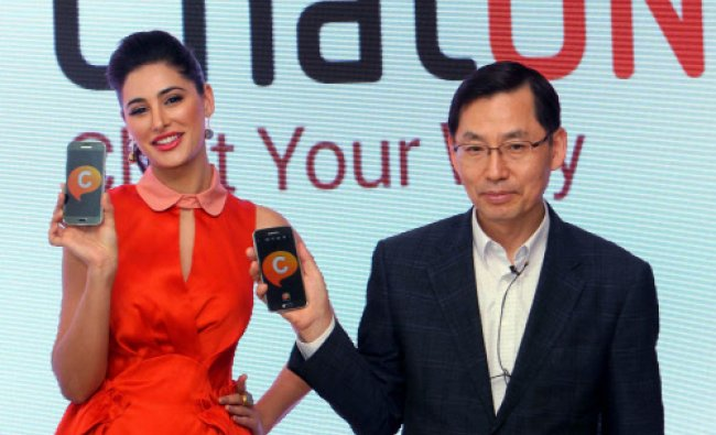 President and CEO Samsung South West Asia B D Park and actress Nargis Fakri at the launch of the...