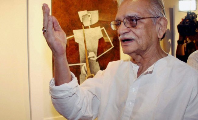 Bollywood lyricist Gulzar during the inauguration of the painting exhibition Epic...