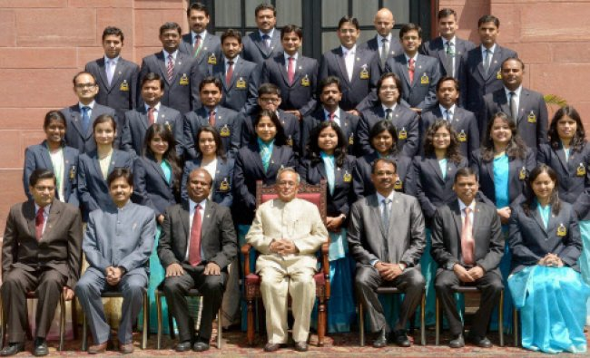 Pranab Mukherjee during a meeting with Indian Postal Service Probationers...