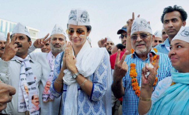 AAP candidate and Bollywood actress Gul Panag campaigns for party candidate Dharamvir...