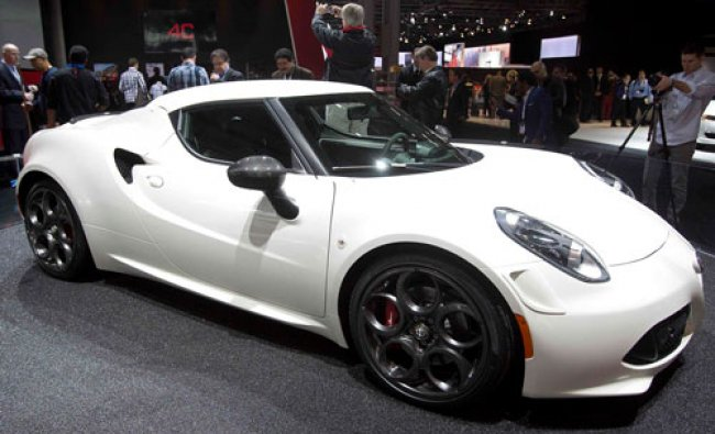 An Alfa Romeo 4C is pictured at a media event at the Jacob Javits Convention Center during the...