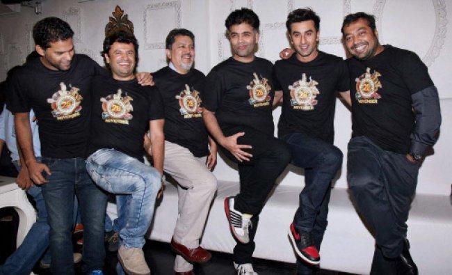 Vikramaditya Motwane, Karan Johar, Vikas Bhal, actor Ranbir Kapoor and Anurag Kashyap during a ...