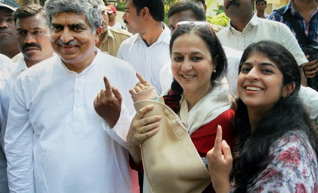 Congress candidate from Bangalore South Nandan Nilekani showing inked finger with his wife Rohini...